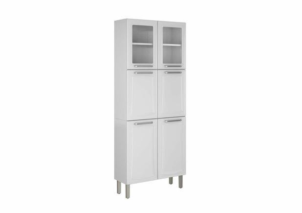 Paneleiro Duplo c/Vidro Cozinhas Itatiaia Tarsila - 6 Portas - IPLDV-80 - Branco
