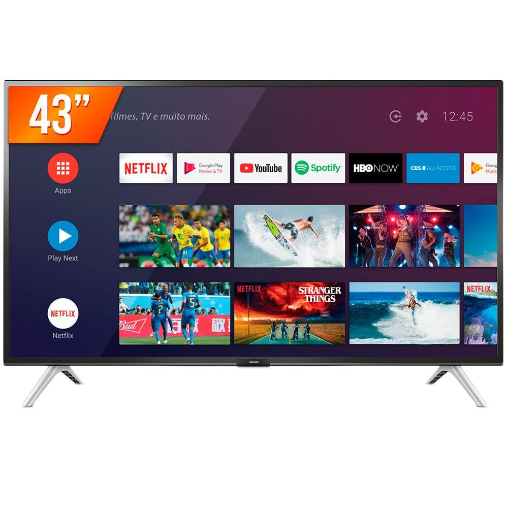 "Smart TV Android 43"" Semp 43S5300 Full HD com Conversor Digital Wi-Fi 1 USB 2 HDMI"