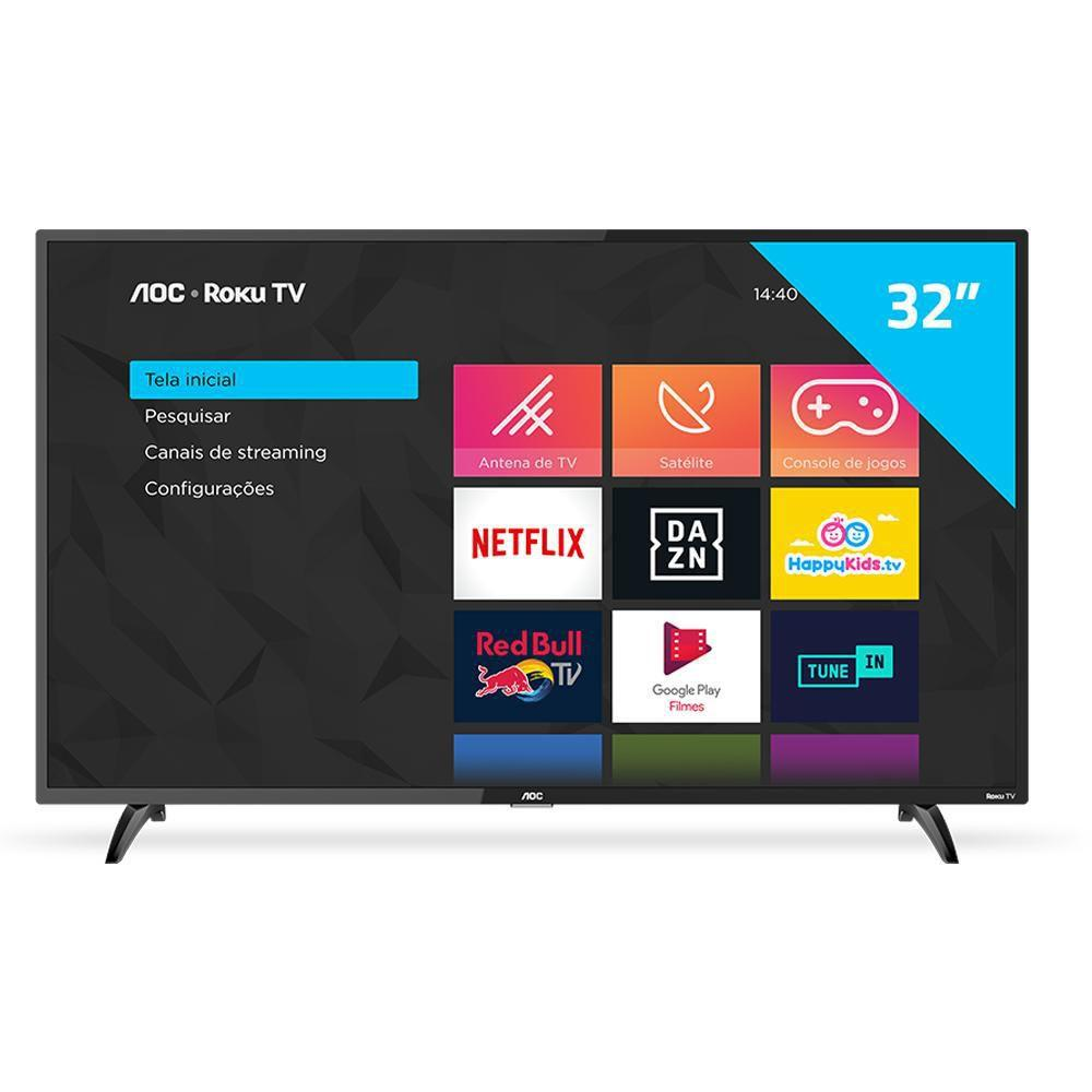 "Smart TV AOC Roku TV LED 32"" 32S5195/78 com Wi-fi, Milhares de Apps, App Roku Mobile, Miracast, Entradas HDMI e USB"