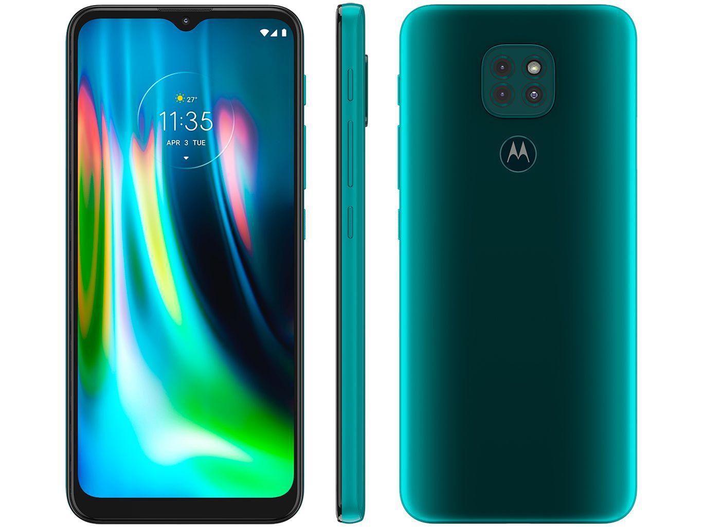 """Smartphone Motorola Moto G9 Play 64GB, 4GB RAM, Tela de 6.5"""", Câmera Traseira Tripla, Android 10 e Processador Octa-Core Verde"""
