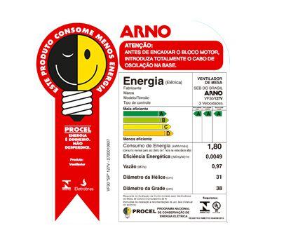 Ventilador Arno Silence Force 30 Vf30 Preto/Prata - 127V