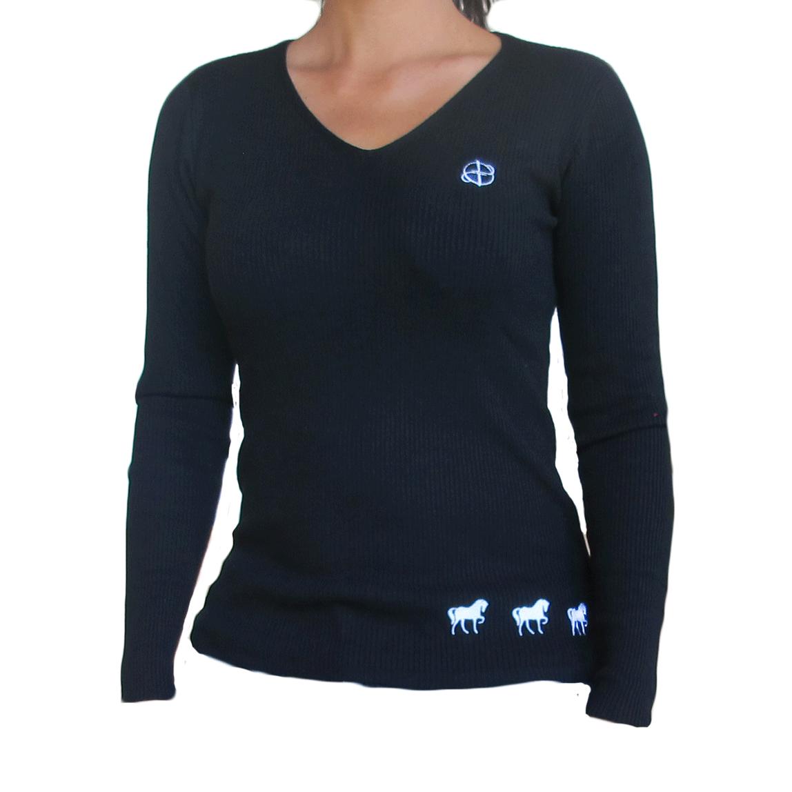 Blusa tricot bordada cavalinhos