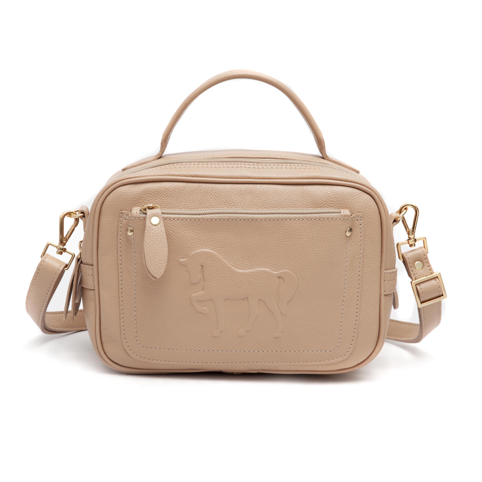 Bolsa Chiara em couro legítimo com cavalo em relevo