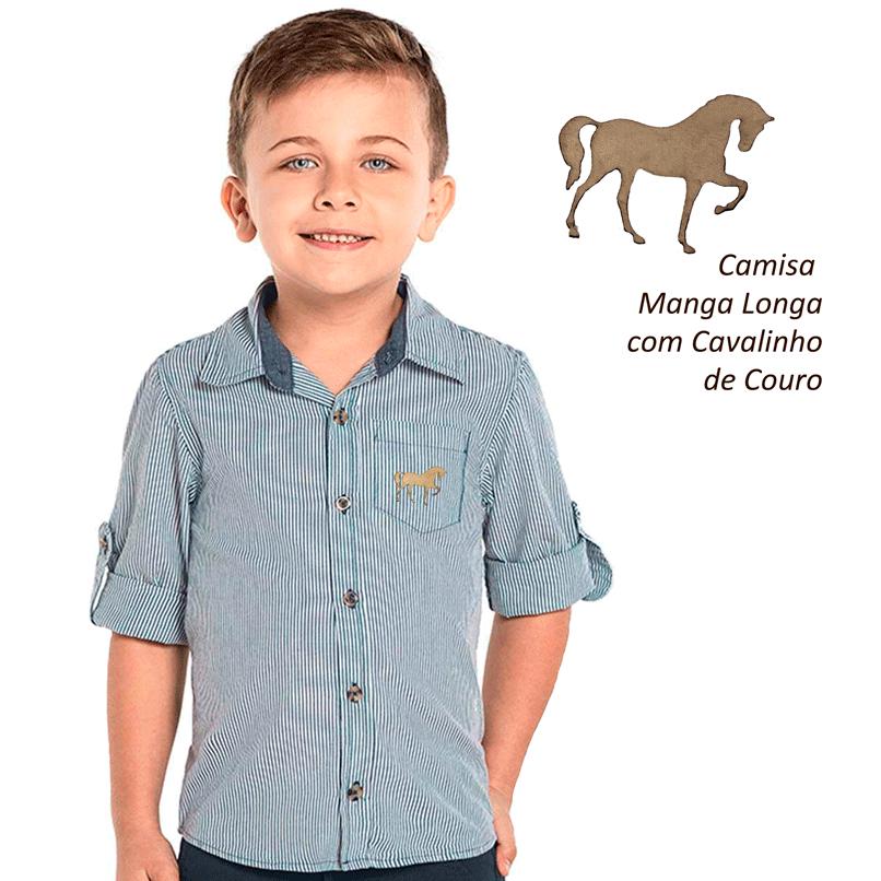 Camisa manga longa com cavalinhos