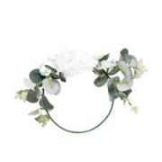 Arco com Folhas e Flores Brancas e Verdes 20x20 Cromus