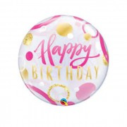 "BALAO BUBBLE 22"" HAPPY BIRTHDAY ROSA/OURO PONTOS QUALAT"