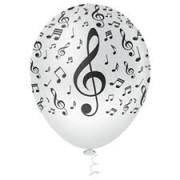 BALAO LATEX 10 NOTAS MUSICAIS BCO/PTO PICPIC C/25