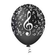BALAO LATEX 10 NOTAS MUSICAIS PTO/BCO PICPIC C/25