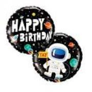 "BALAO METALIZADO 18"" HAPPY BIRTHDAY ASTRONAUTA QUALATEX"