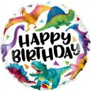 "BALAO METALIZADO 18"" HAPPY BIRTHDAY DINOSSAUROS COLORID"