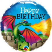 "BALAO METALIZADO 18"" HAPPY BIRTHDAY DRAGAO MISTICO QUAL"