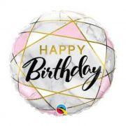 """BALAO METALIZADO 18"""" HAPPY BIRTHDAY RETANGULOS 88125"""