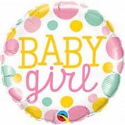 BALAO METALIZADO BABY GIRL PONTOS 55388 QUALATEX