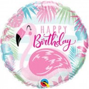 BALAO METALIZADO HAPPY BIRTHDAY FLAMINGO 57274 QUALATEX