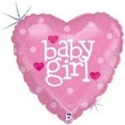 BALAO METALIZADO MINISHAPE CORACAO BABY GIRL HOLOGRAFICO