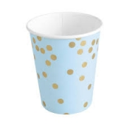 Copo de Papel Azul Bebe com Confetes Dourados Silver Festas c/10