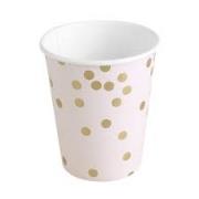 Copo de Papel Rosa Bebe com Confetes Dourados Silver Festas c/10