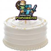 Decoracao de Bolo Minecraft Grafite Regina Festas