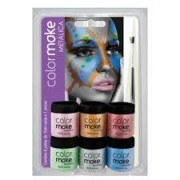 KIT TINTA FACIAL METALICA 6 CORES COM PINCEL 1004 COLORMAKE