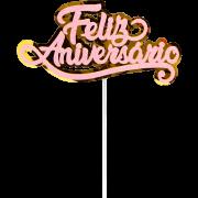 TOPO DE BOLO FELIZ ANIVERSARIO ROSA GLITTER 108012 PIFFER