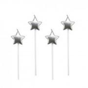 Vela Estrela Prata Silver Festas c/4