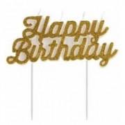VELA HAPPY BIRTHDAY GLITTER DOURADA V099 SILVER FESTAS