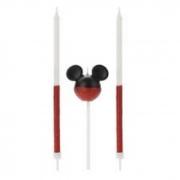 Vela Mickey 360 Meio Glitter Vermelha Silver Festas