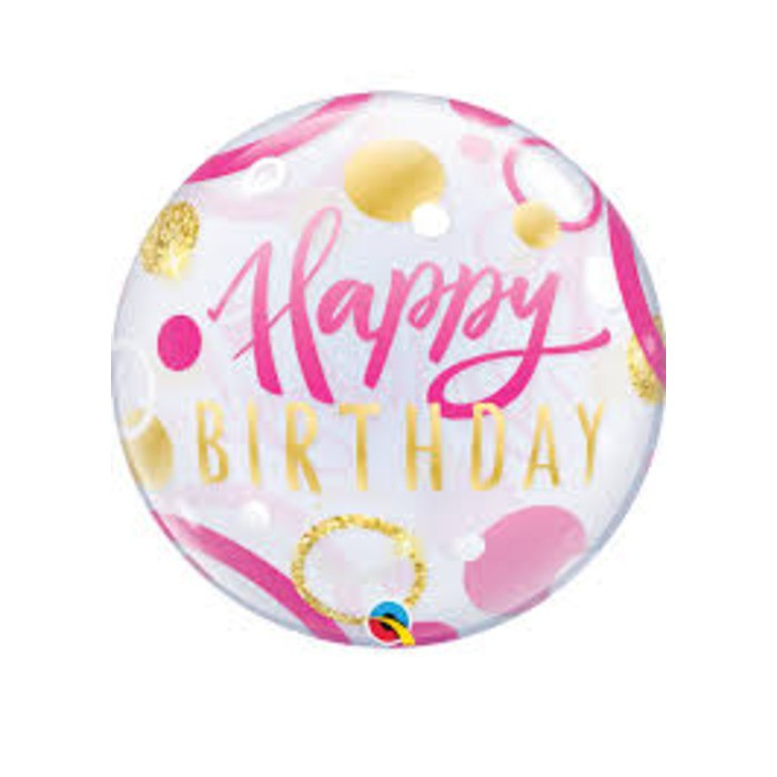 "BALAO BUBBLE 22"" HAPPY BIRTHDAY ROSA/OURO PONTOS QUALAT"