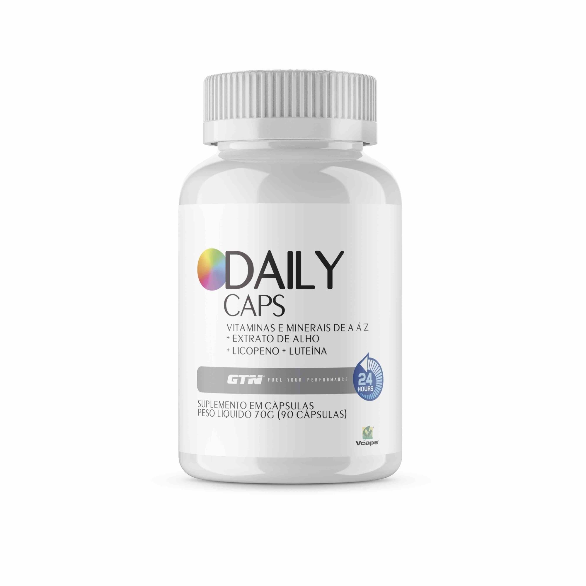 DAILY CAPS - Vitaminas e minerais de A à Z  + Luteína + Alho + Licopeno (90 cápsulas vegetais)