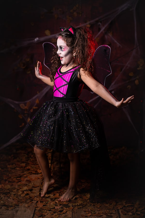 Fantasia Halloween Morcega Rosa