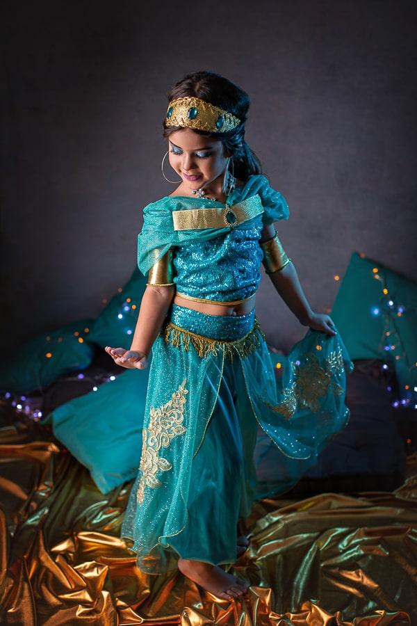 Fantasia Princesa Jasmine verde luxo - Aladdin