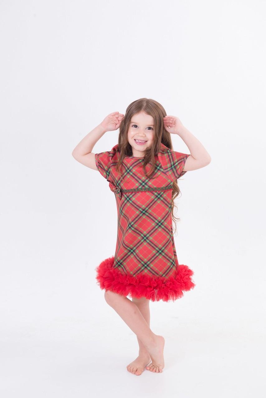 Fantasia Vestido Xadrez Natal Infantil