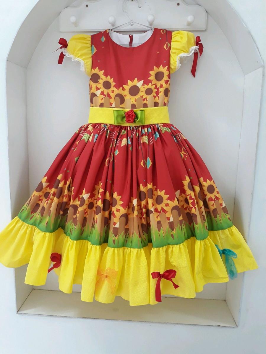 vestido de quadrilha girassol