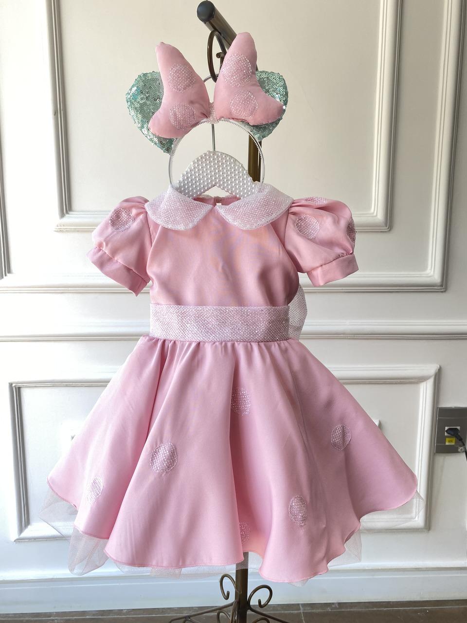 Vestido Minnie Rosa Brilhante