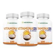 3x Vitamina D3 100 cápsulas 2000UI - Mediervas