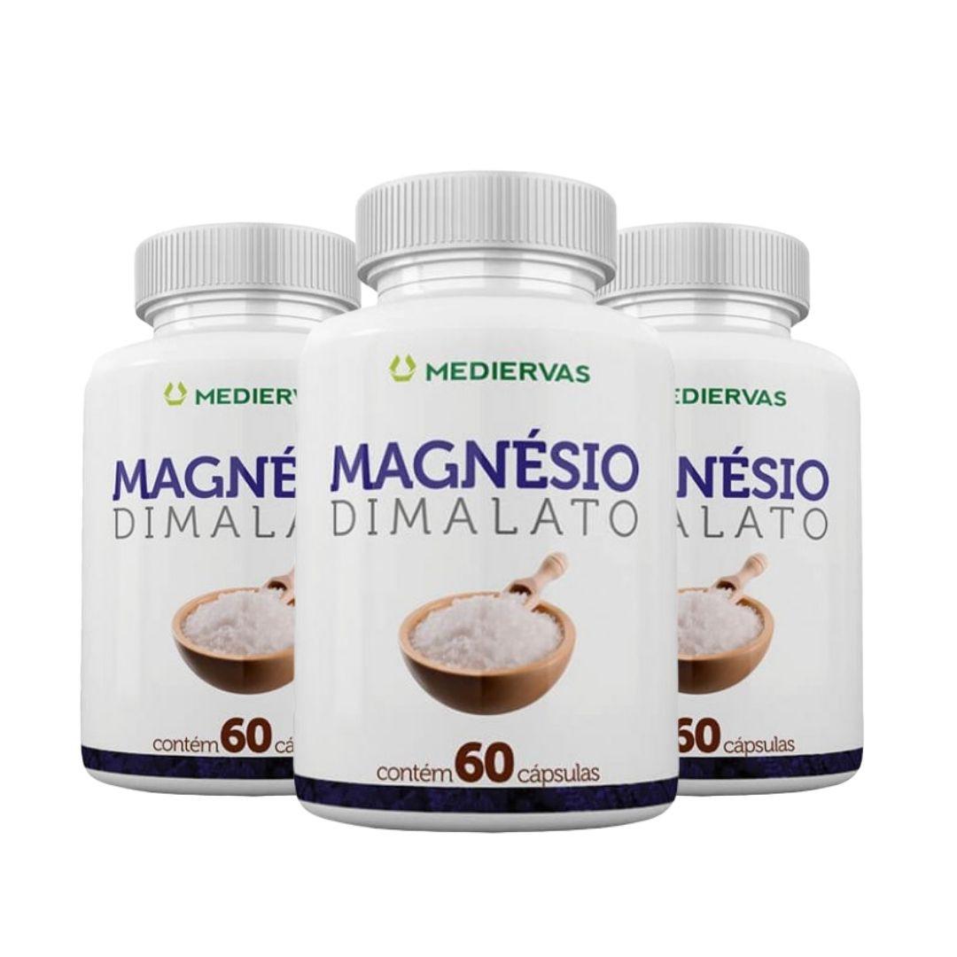 3x Magnésio Dimalato – 60 cápsulas - Mediervas