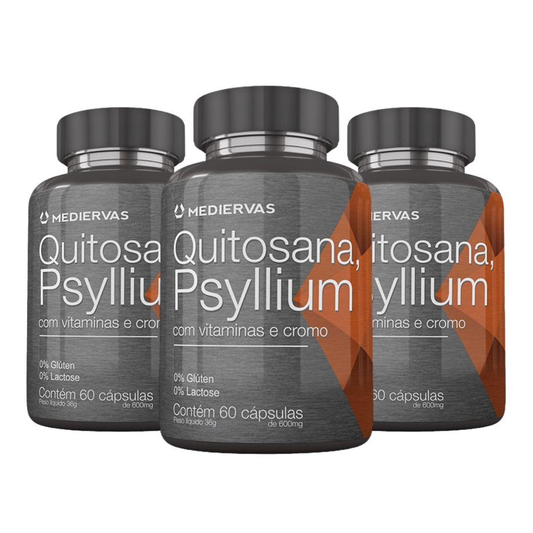 3x Quitosana Psyllium  60 cápsulas 600 mg - Mediervas