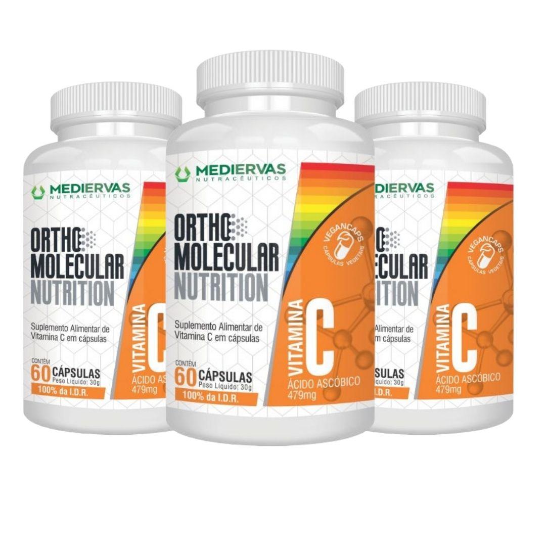 3x Vitamina C - Orthomolecular - 60 Vegancaps 479mg - Mediervas