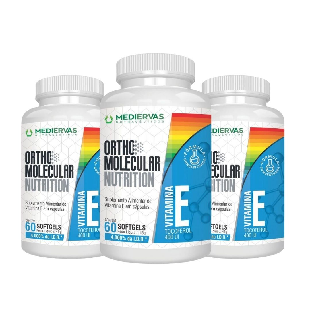 3x Vitamina E - 4000% I.D.R-Orthomolecular-60 Vegancaps 400UI