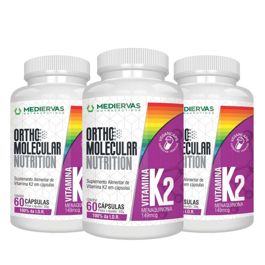 3x Vitamina K2 - 100% I.D.R-Orthomolecular-60 Vegancaps 149mcg