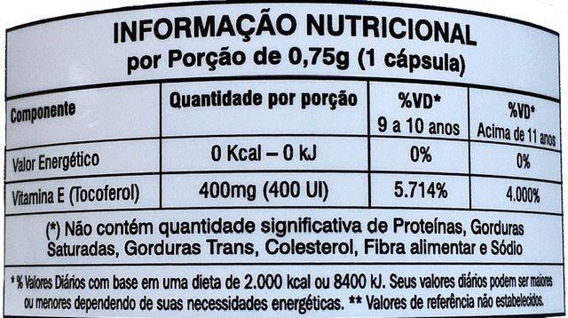 Vitamina E Orthomolecular Nutrition 60 cápsulas vegana 400UI (tocoferol) 4000% da I. D.R