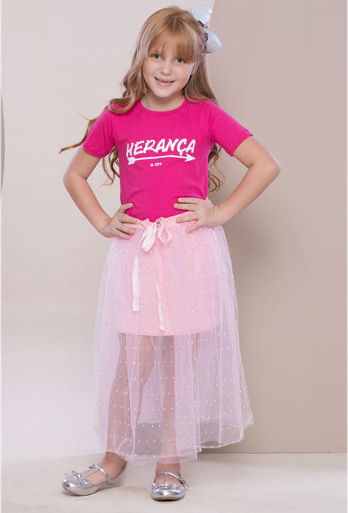 Camiseta Herança Rosa Infantil