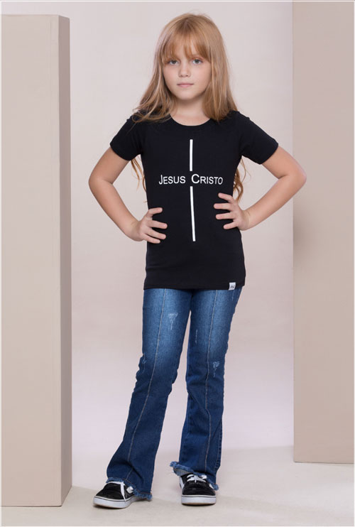 Camiseta Jesus Cristo Preta Infantil