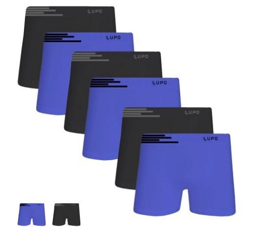 Kit com 6 unidades de Cuecas Lupo Boxer Microfibra Sortidos