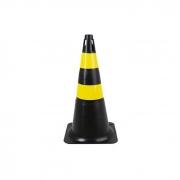 Cone de Sinalização PVC Preto/Amarelo 500mm