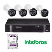 Kit CFTV -  4 câmera VHD 1010 B G4- 1 DVR com 4 canais com 1 terabyte de armazenamento - Intelbras