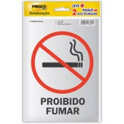 Placa de Sinalização Proibido Fumar 2 UN Pimaco 14cm x 19cm