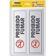 Placa de Sinalização Proibido Fumar 2 UN Pimaco 6,5cm x 20cm