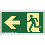 Placa de Sinalização Rota de Fuga Para Esquerda Fotoluminescente 1 UN Sinalize