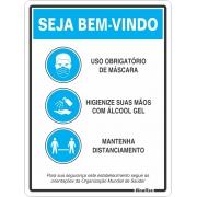 Placa para sinalização 20x30 Orientações OMS COVID-19 COV03 Sinalize PT 1 UN